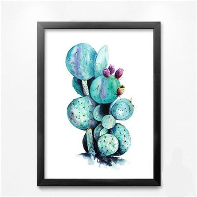 Green Plant Cactus Leaf Canvas Wall Art | Octo Treasure
