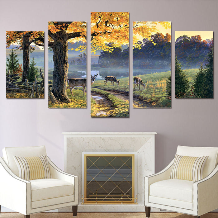 Hunting For White Tailed Deer 5 Panel Wall Art | OctoTreasure