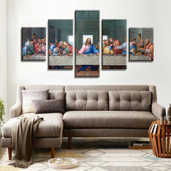 5 Panel Framed The Last Supper Canvas Painting | Octo Treasure