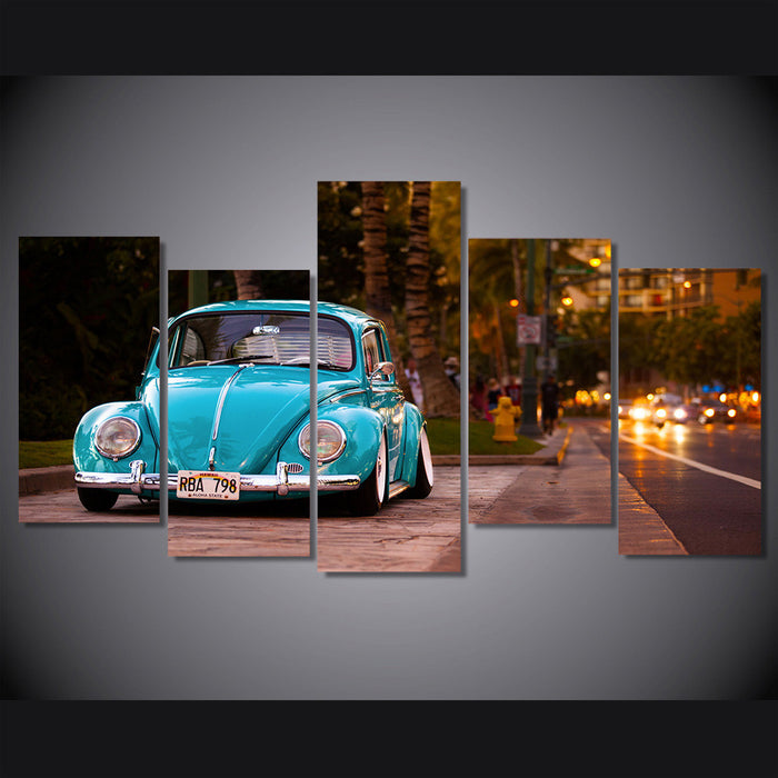 Retro Blue Volkswagen Beetle Canvas Spray Painting | OctoTreasure