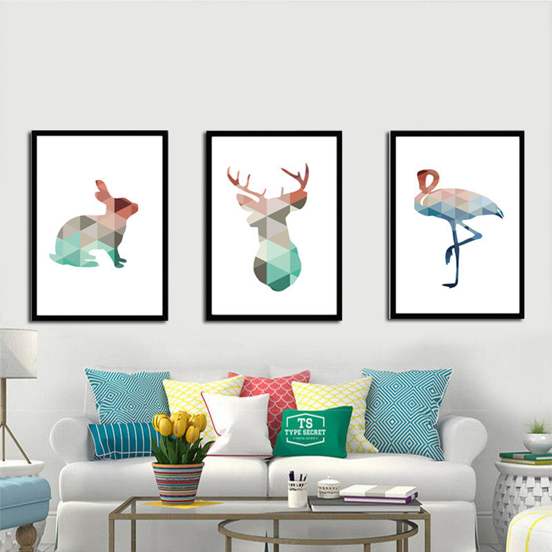Colorful Geometric Deer Rabbit Animal Canvas Painting A4 Art Print Poster Home Decorative Kids Rooms Living Room Wall Decor | Octo Treasure