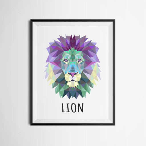 """Awaken Beast"" Geometric Lion Canvas Spray Painting 