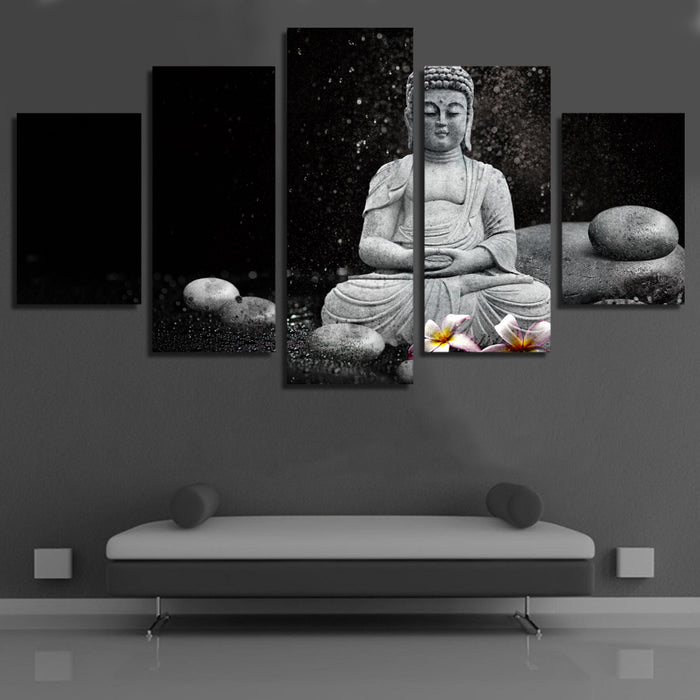 "5 Panel ""Rain Pebble"" Buddha Canvas Painting"