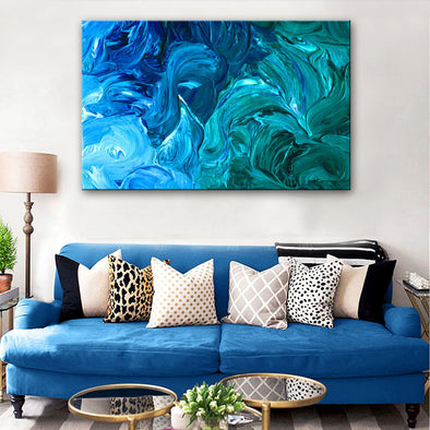 """Blue Spray Fantasy"" Hand Painted Abstract Oil Painting 