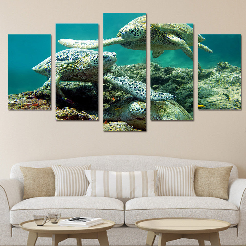 Sea Turtle Canvas Painting Framed 5 Panel Wall Art | Octo Treasure