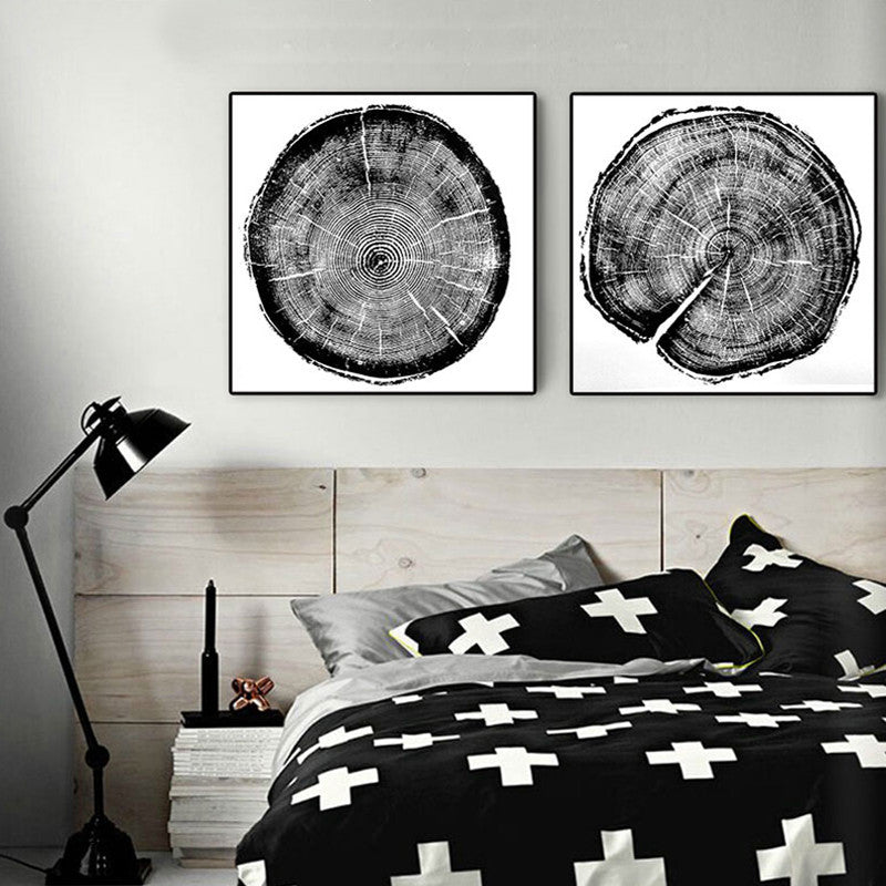 Modern abstract Nordic canvas prints Black and white Large Tree Rings LintonArt 4 piece posters for living room cuadros modernos | Octo Treasure