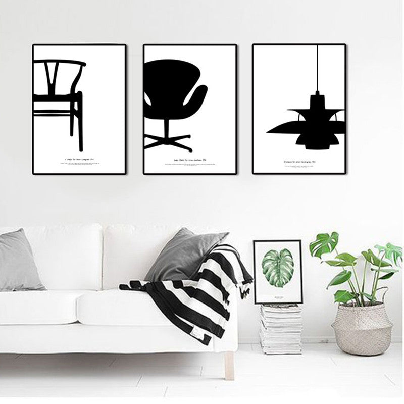 modern nordic decoration 4 piece canvas art pictures for living room Black and white home decor Y CHAIR Eiffel Chair PH LAMP | Octo Treasure
