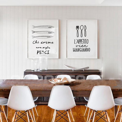 modern nordic Letter poster Restaurant kitchen home decor canvas pictures for living room Black and white