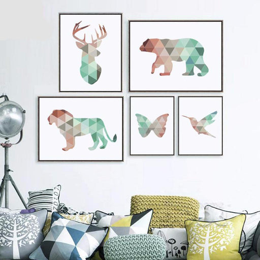 5 Panel Geometric Animals Canvas Print Wall Art | Octo Treasure