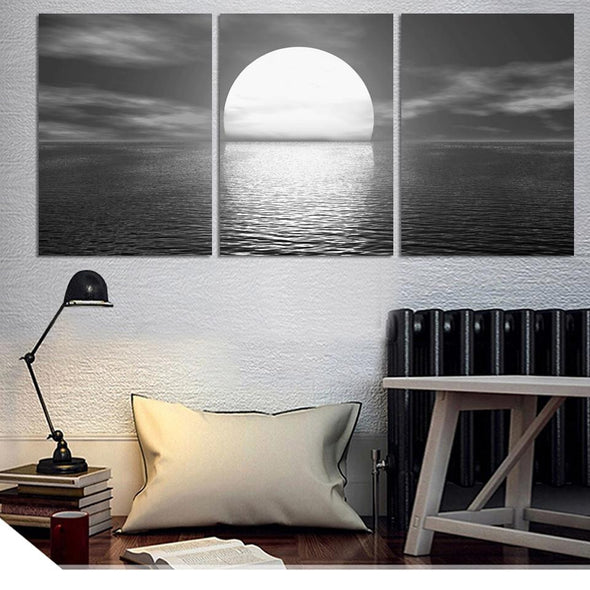 3 Pieces/set wall art Sea full moon night home decoration abstract large canvas printed paintings unframed | Octo Treasure