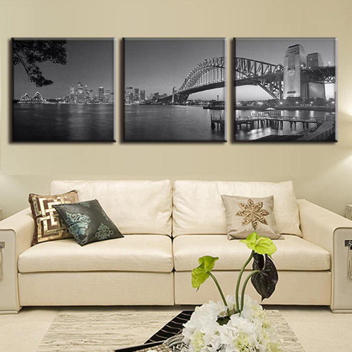 3 Panel Harbour Bridge In Sydney Canvas Painting | Octo Treasure