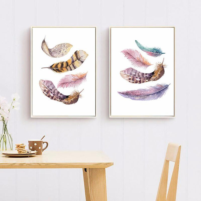 Harlequin Feathers Canvas Wall Art | Octo Treasure