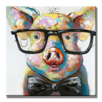 Pig With Glasses Painting Unframed Canvas Wall Art | Octo Treasure
