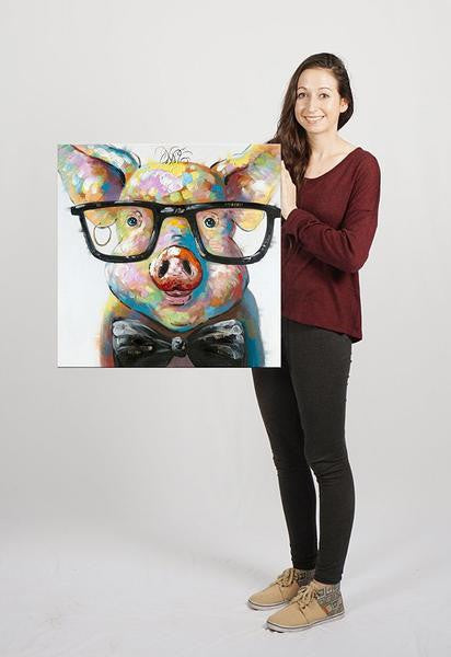 Pig With Glasses Painting Modern Home Decor Octotreasure