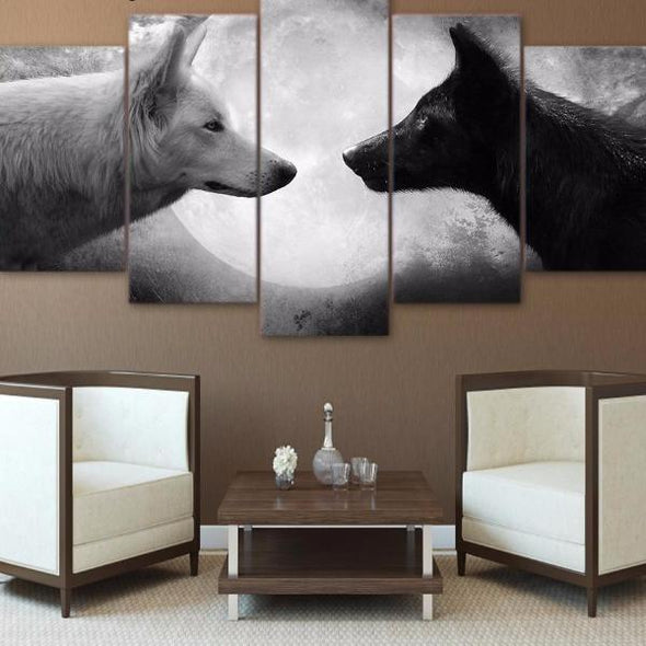 5 Panel Black and White Wolves Canvas Wall Art | Octo Treasure