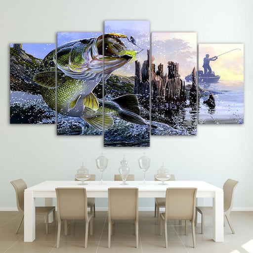 5 Panel Bass Fishing Canvas Wall Art | Octo Treasure