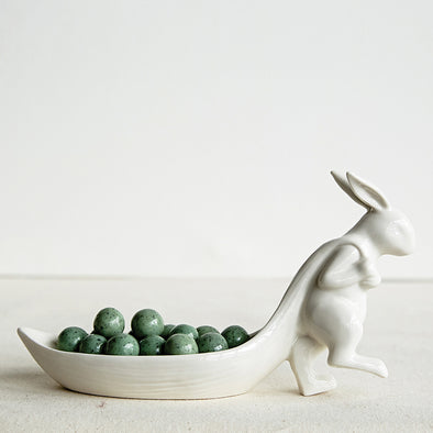 """Bunny Leaf"" Ceramic Dish Storage"