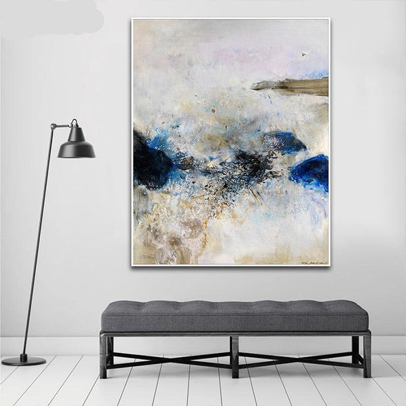 """Blue Abstract Chic"" Canvas Painting"