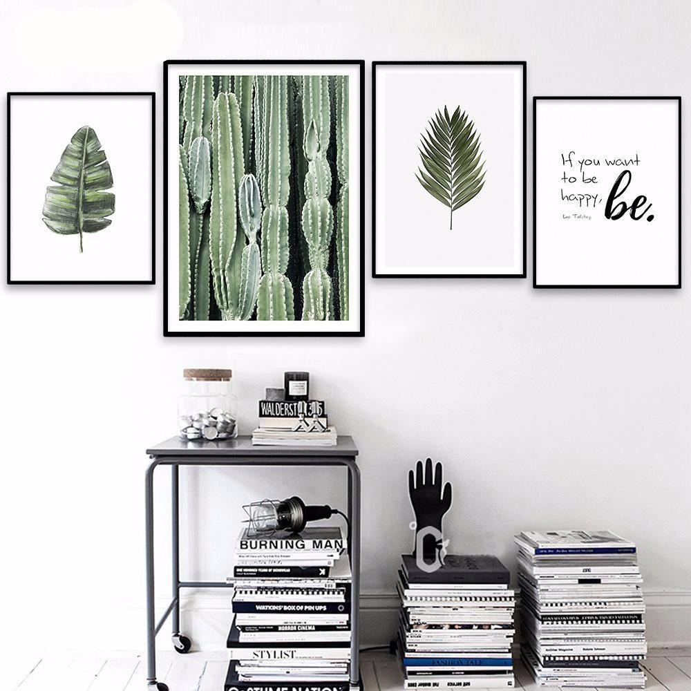 Motivational Poster Quotes and Cactus Leaves Canvas | Octo Treasure
