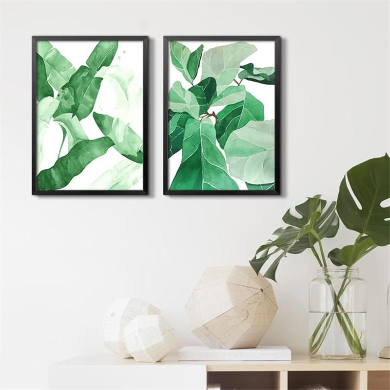 Green leaves Home Decor Canvas Wall Art | Octo Treasure