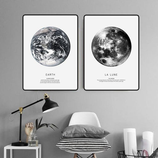 Earth Venus and La Lune Canvas Wall Art | Octo Treasure