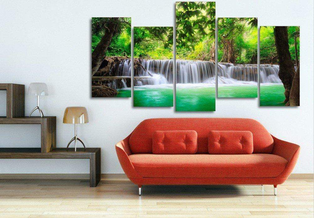 5 Panel Framed Amazon Jungle Waterfall Wall Canvas | Octo Treasure