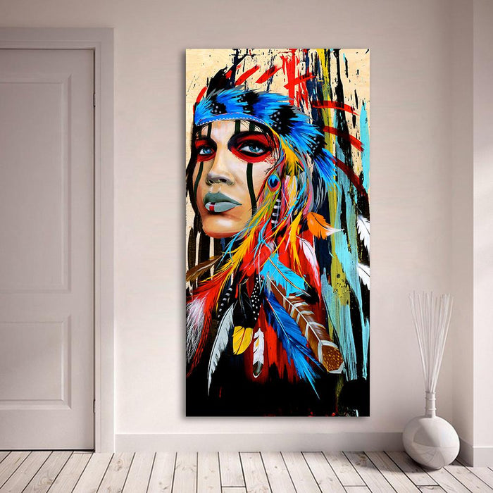 Feathered Native American Indian Girl Spray Painting
