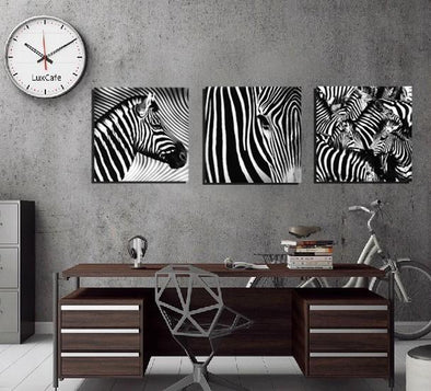 3 Panel Black and White Zebra Canvas Painting