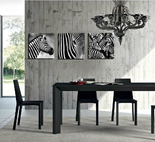 3 Panel Black and White Zebra Canvas Spray Painting