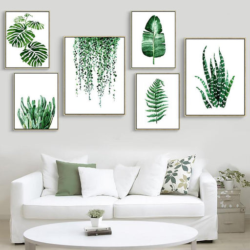 Nordic Tropical Plant Leaf Canvas Print Spray Painting