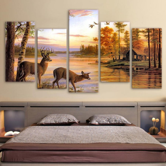 Lake House White Tailed Deer Hunting Season 5 Panel Wall Art