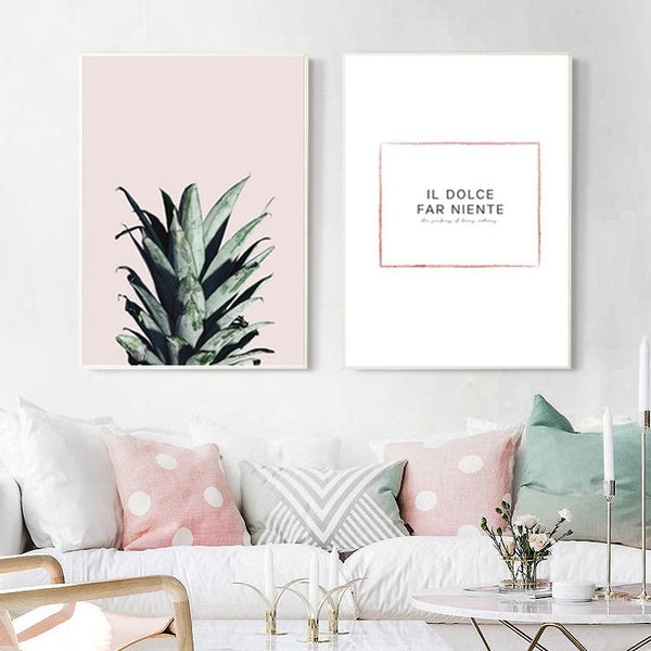 2 Panel Pineapple Painting Poster Wall Art Canvas | Octo Treasure
