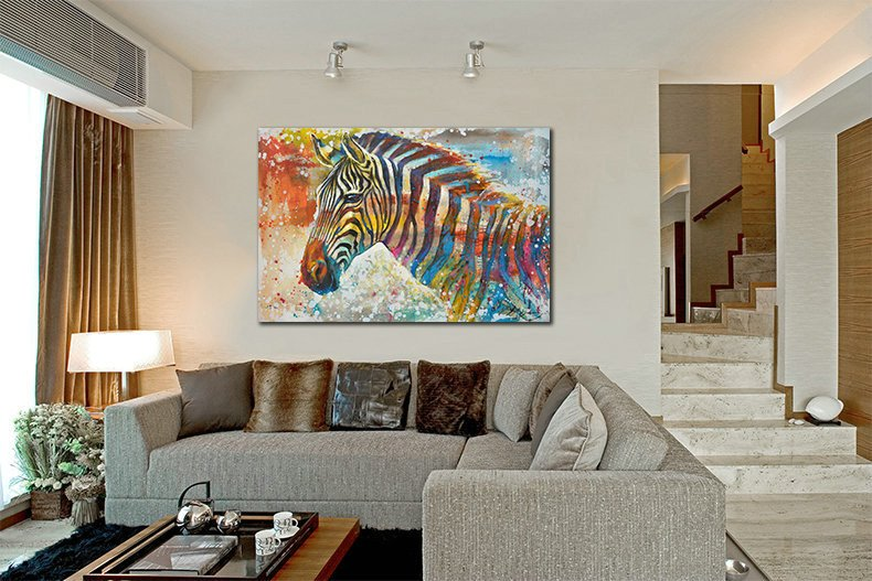 1 Panel Colorful Zebra Oil Painting Unframed Moden Wall Canvas Art | Octo Treasure