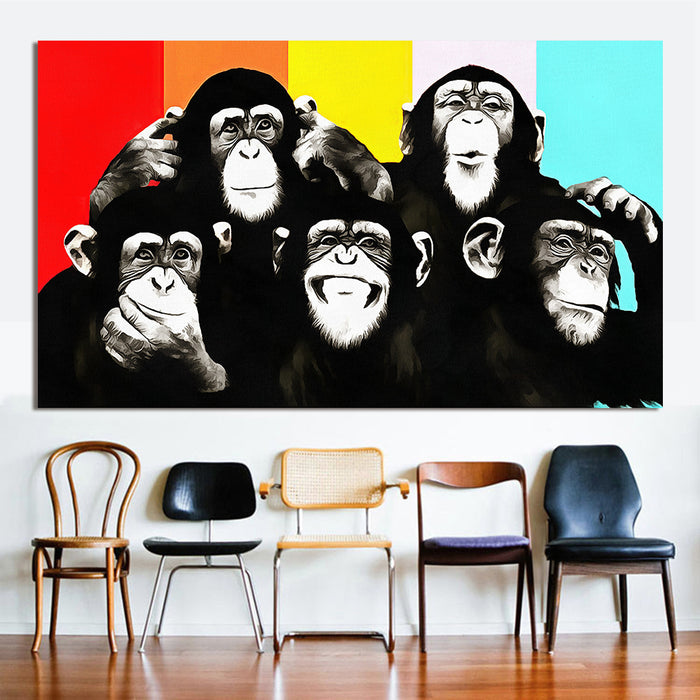 HDARTISAN Animal Canvas Art Oil Painting Pop Art Funny Chimps Wall Pictures For Living Room Home Decor Printed Frameless