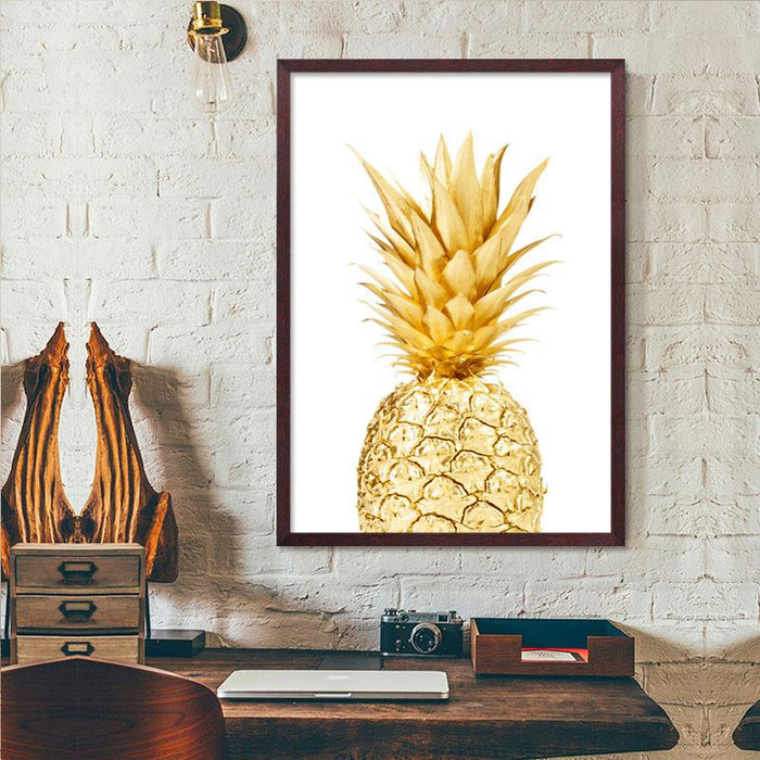 """Gold Pineapple"" Modern Canvas Prints Unframed Wall Decor"