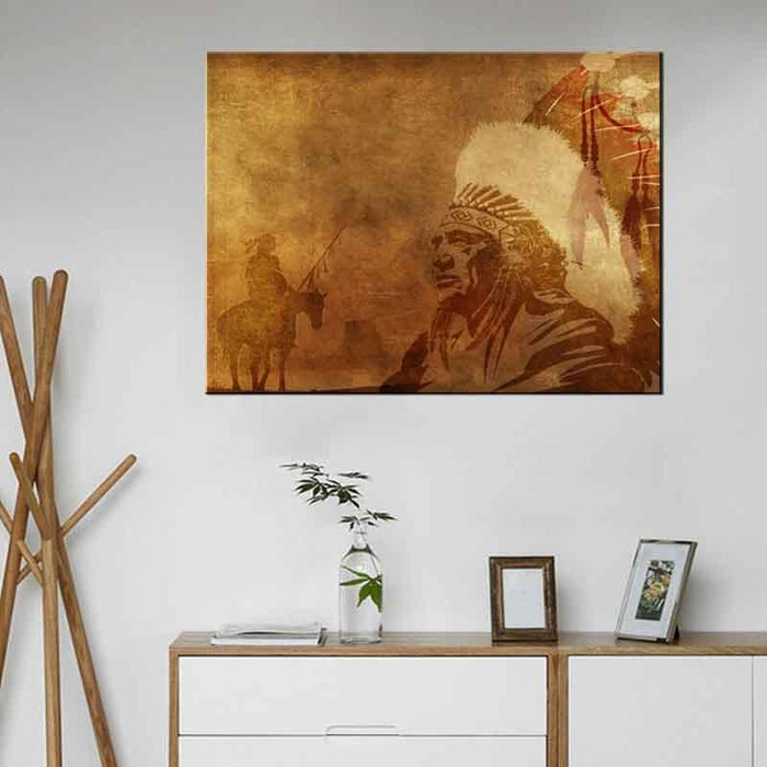 Traditional Indian Chief Figure Canvas Painting | Octo Treasure