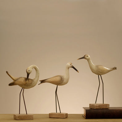 3 Sets Of Wooden Seabird Hand Crafted Living Room Decoration