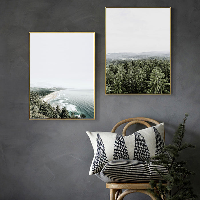 Nordic Home Decor Green Forest Wall Art Sea Landscape Canvas Prints Decor Poster New Canvas Pictures For Living Room Unframed