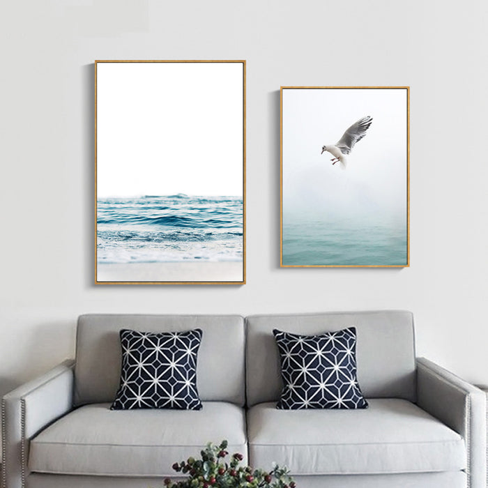 Nordic Poster Blue Sea Wall Art Canvas Painting Posters And Prints Canvas Art Wall Pictures For Living Room Unframed Bird Photo