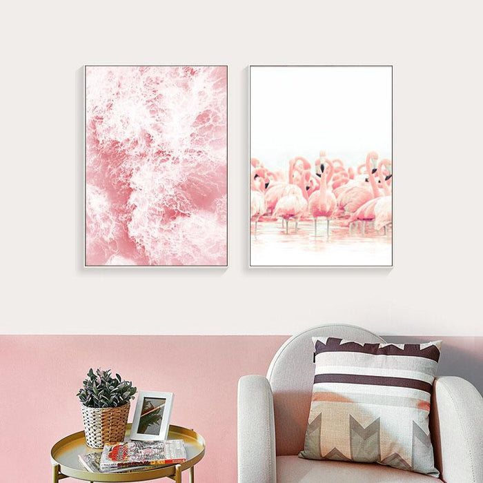 """Pink Flamingo Lake"" Unframed Canvas Prints Wall Decor"