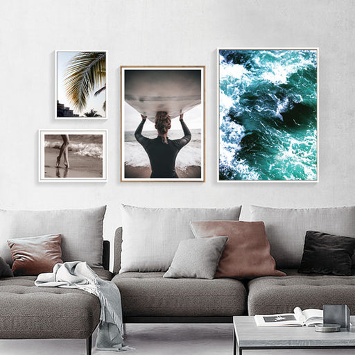 Nordic Surf Up Beach Landscape Canvas Wall Prints | OctoTreasure