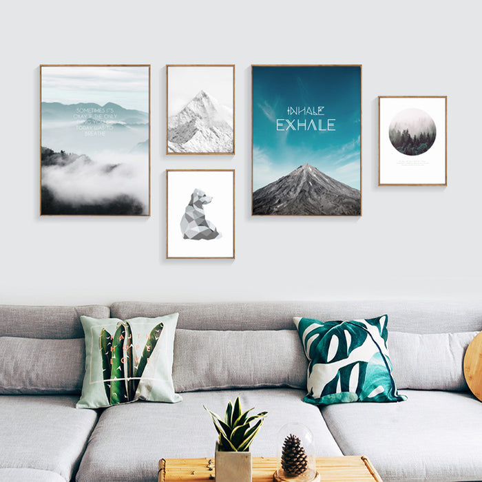 Nordic 5 Panel Canvas Art Blue Sea Cuadros Decoracion Canvas Painting Posters And Prints Dog Wall Pictures No Poster Framed