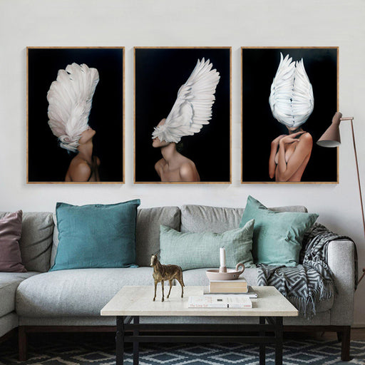 Nordic Feather Angels Canvas Posters Prints
