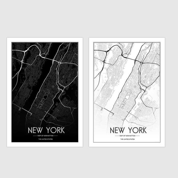 Custom MAP Print Creative Nordic Customizable New York City Line Drawing Art Map Canvas Painting Wall Art Picture Unframed