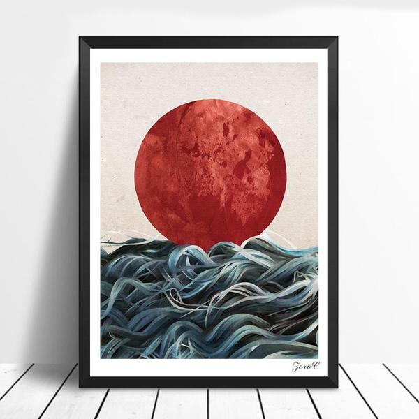 Abstract Japanese Sunrise Canvas Wall Poster | OctoTreasure