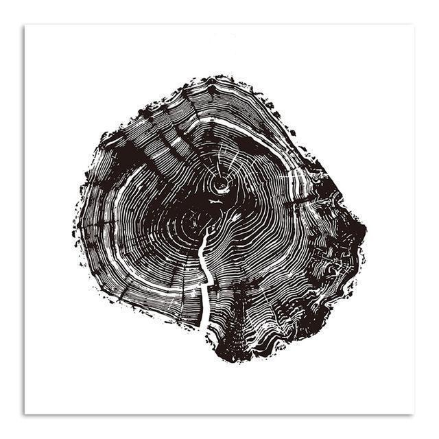 black white tree ring canvas painting octotreasure