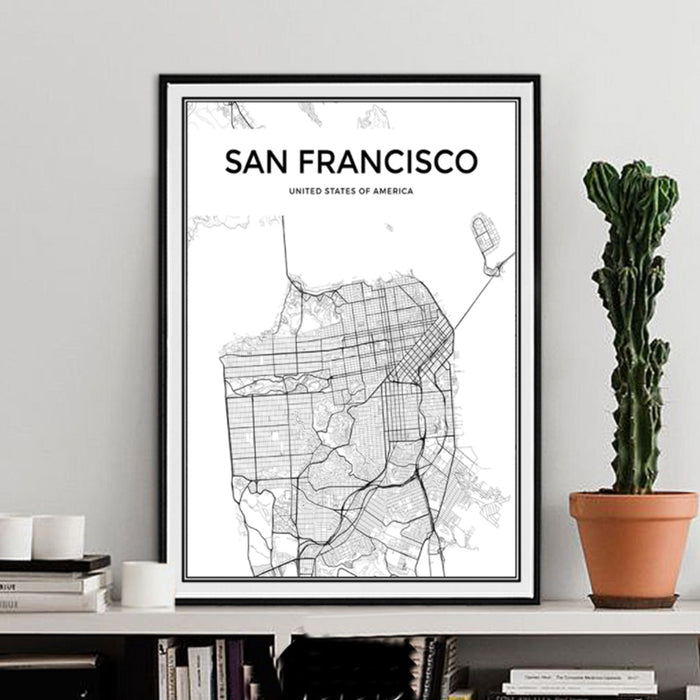 San Francisco City Map Canvas Paintings Minimalist Black and White Posters Prints Wall Art Pictures for Living Room Home Decor