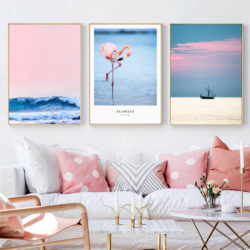 """Pink Grace"" Nordic Unframed Canvas Prints Collection"