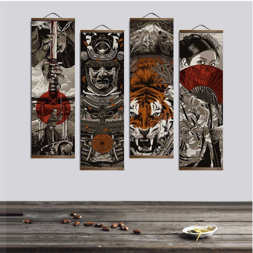 Japanese Ukiyoe Solid Wood Hanging Scroll Canvas Poster | OctoTreasure