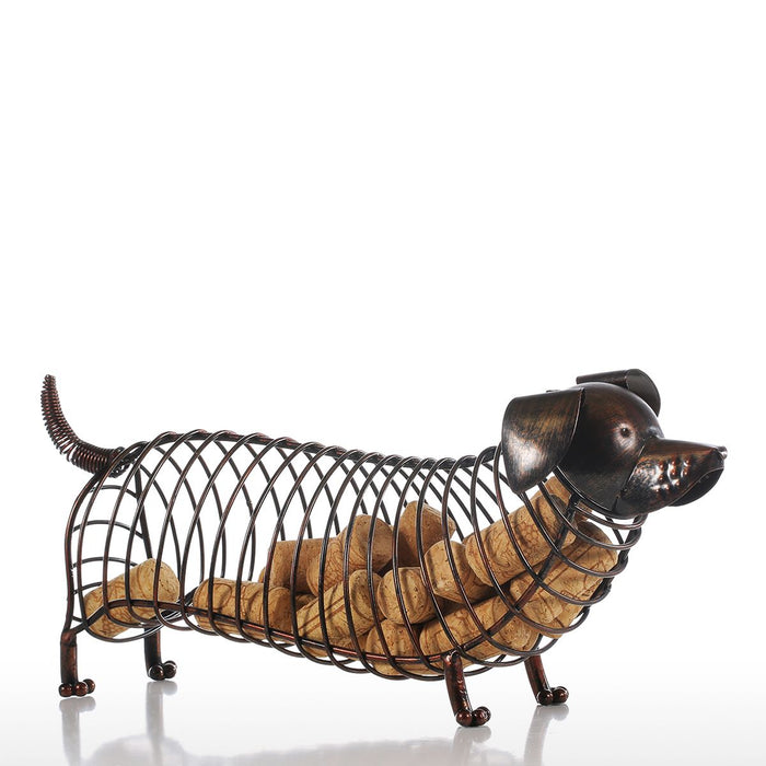 Tooarts Dachshund Wine Cork Container Iron Craft Animal Ornament Gift, Brown, 13.8 * 4.7 * 5.9 inches Home Office Decoration